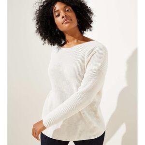 Loft Knit Tie Back Sweater White Size Medium